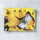 """Часы настенные прямоугольные """"Бабочка на цветке"""", 20х26 см"""