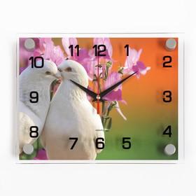"""Часы настенные, серия: Животный мир, """"Белые голуби"""", 20х26 см, микс"""