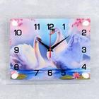 """Часы настенные прямоугольные """"Пара лебедей"""", 20х26 см"""