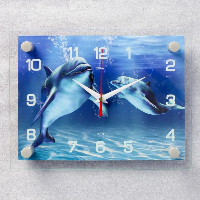 """Часы настенные, серия: Море, """"Дельфины"""", 20х26  см, микс"""