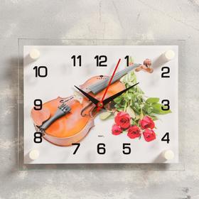 """Часы настенные, серия: Музыка, """"Розы и скрипка"""", 20х26 см, макс в Донецке"""