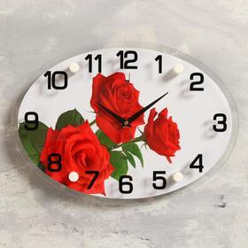 """Часы настенные, серия: Цветы, """"Три розы"""", 24х34 см"""