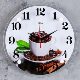 """Часы настенные, серия: Кухня, """"Чашка с кофейными зернами"""", 30х30 см микс"""