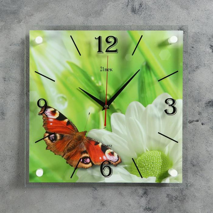 """Часы настенные, серия: Животный мир, """"Бабочка"""", 35х35 см"""