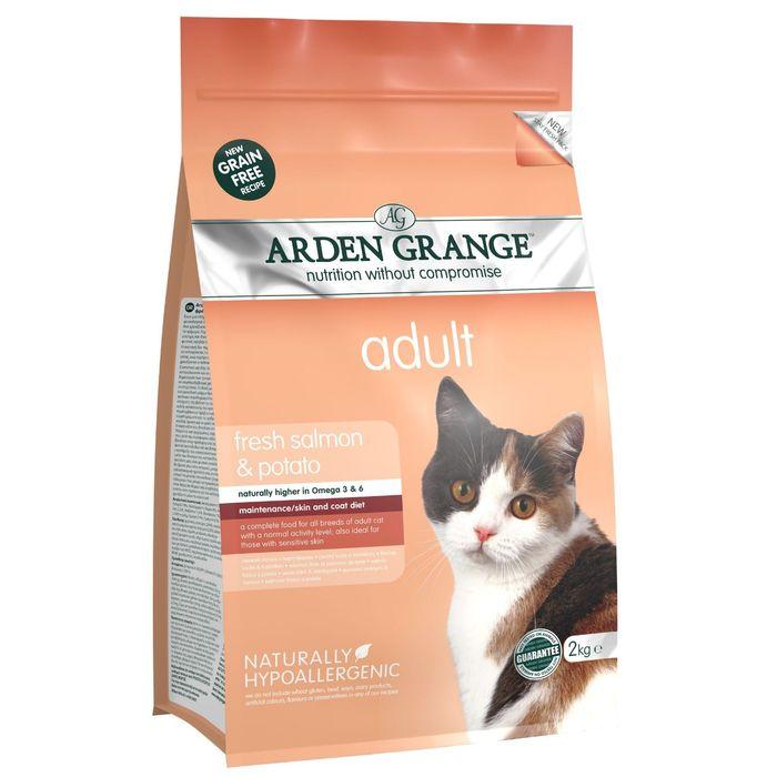 Сухой корм Arden Grange  беззерновой, для взрослых кошек, с лососем и картофелем, 2 кг.