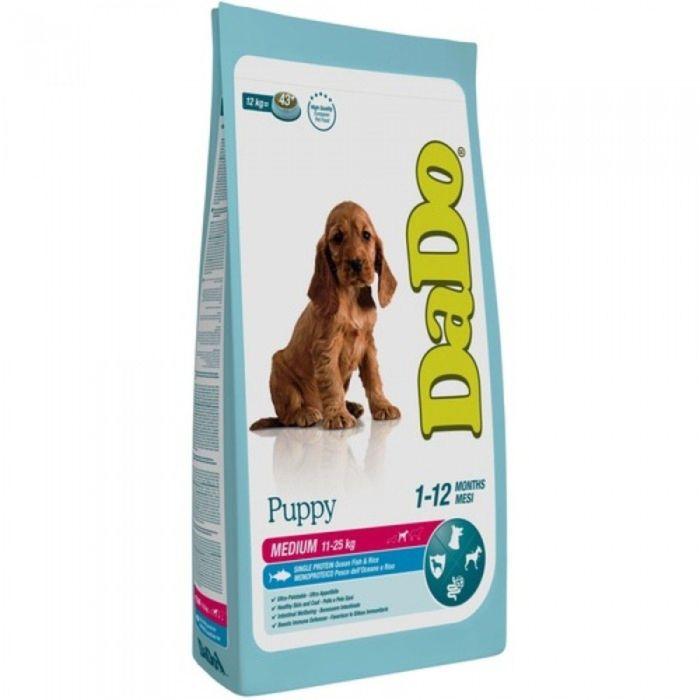 Сухой корм DaDo для щенков средних пород, с рыбой и рисом, 12 кг