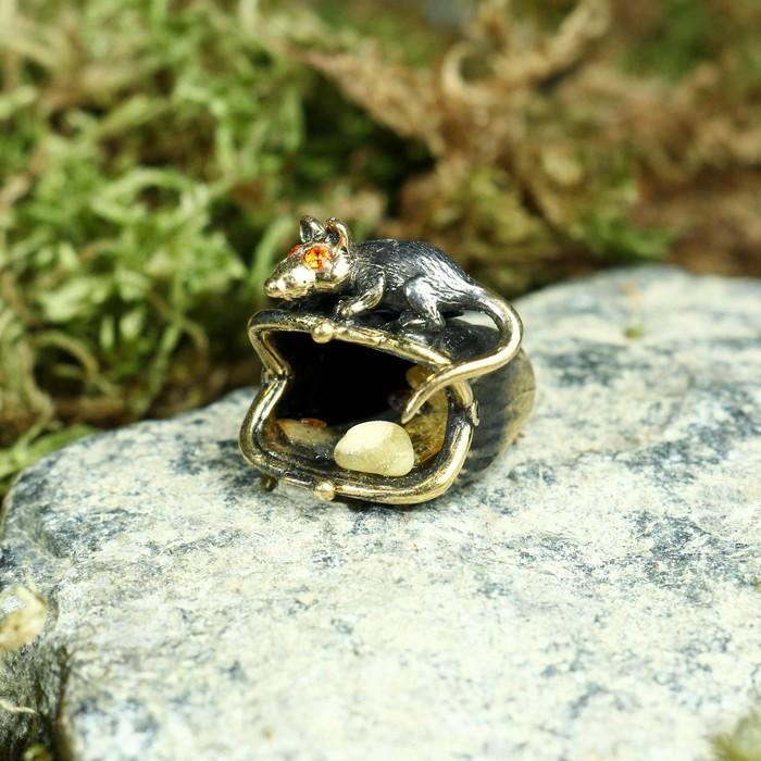 "Сувенир из латуни и янтаря ""Мышь хранительница"" 2х2 см"