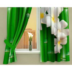 Фотошторы кухонные «Плюмерия и бамбук», размер 145 х 160 см - 2 шт., габардин