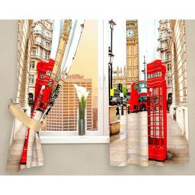 Фотошторы кухонные «Лондонские будки», размер 145 х 160 см - 2 шт., габардин