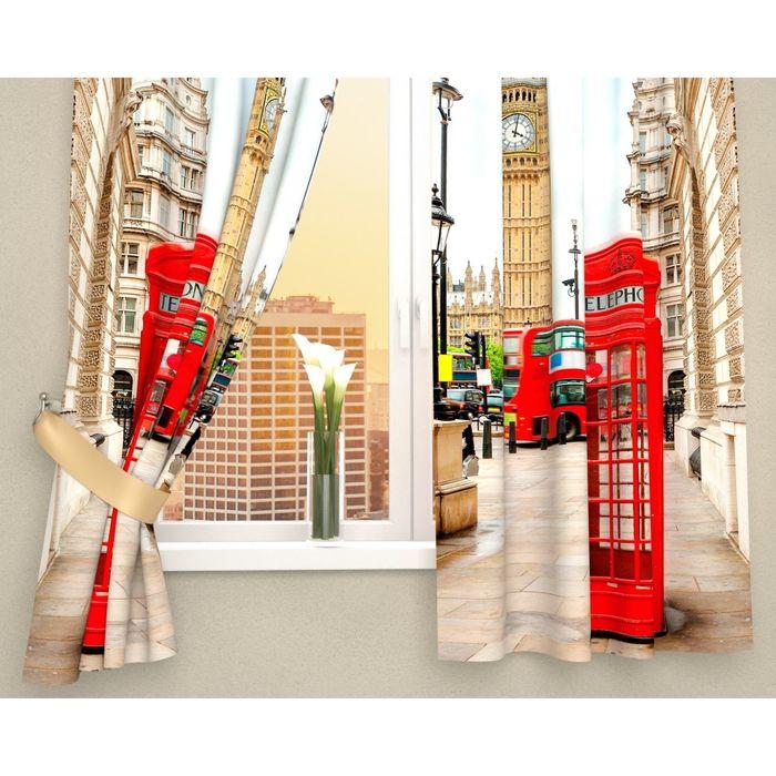 Фотошторы кухонные «Лондонские будки», размер 145 х 160 см - 2 шт., габардин - фото 606315