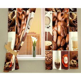 Фотошторы кухонные «Кофейная тематика», размер 145 х 160 см - 2 шт., габардин