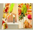 """Фотошторы кухонные """"За завтраком"""", размер 145х160 см-2 шт, габардин 01916"""