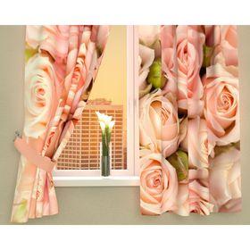 Фотошторы кухонные «Молодые розы», размер 145 х 160 см - 2 шт., габардин