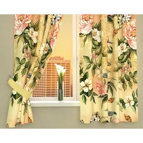 Фотошторы кухонные «Винтажные цветы», размер 145 х 160 см - 2 шт., габардин