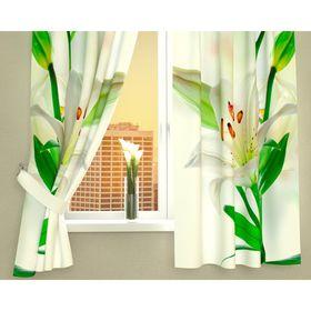 Фотошторы кухонные «Белая лилия», размер 145 х 160 см - 2 шт., габардин