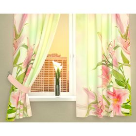 Фотошторы кухонные «Букет розовых лилий», размер 145 х 160 см - 2 шт., габардин