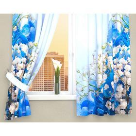 Фотошторы кухонные «Голубой букет», размер 145 х 160 см - 2 шт., габардин