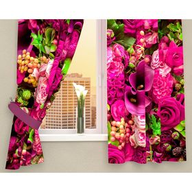 Фотошторы кухонные «Абстрактный фон из цветов», размер 145 х 160 см - 2 шт., габардин