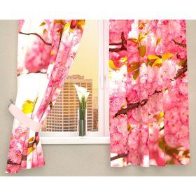 Фотошторы кухонные «Вишневые соцветия», размер 145 х 160 см - 2 шт., габардин