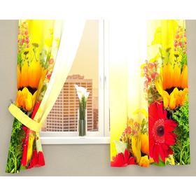 Фотошторы кухонные «Букет из гербер и подсолнухов», размер 145 х 160 см - 2 шт., габардин