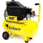 Компрессор масляный Kolner KAC 24 L, коаксиальный,1.5кВт,24л,206л/мин,2850об/мин, колеса