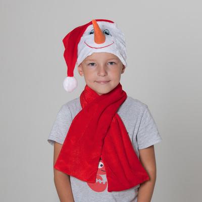 """Шапка """"Снеговик"""" в красном колпаке + красный шарф, обхват головы 54-56 см"""