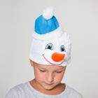 """Шапка """"Снеговик"""" в голубой шапке, обхват головы 54-56 см"""