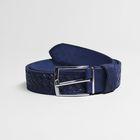 Ремень мужской, плетение, пряжка металл, ширина - 3,5 см, цвет синий