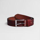Ремень мужской, пряжка металл, ширина - 3,5 см, цвет рыжий