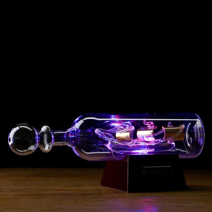 Корабль сувенирный в бутылке с золотистыми парусами «Корабль мечты», 7 х 16 х 6 см