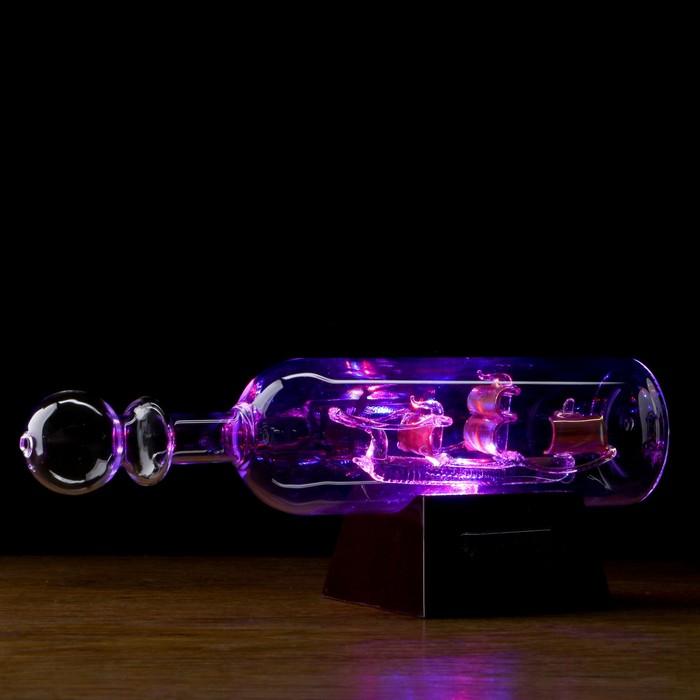 """Корабль сувенирный в бутылке с тремя золотистыми парусами """"Корабль удачи"""""""