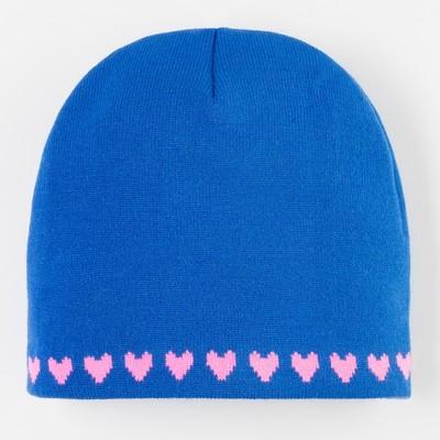 Шапка для девочки, размер 48, цвет синий/розовый
