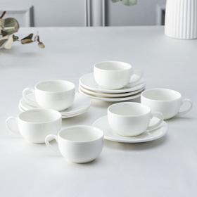 Набор кофейный на 6 персон Wilmax, 12 предметов: 6 чашек 100 мл, 6 блюдец d=13,2 см, цвет белый