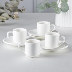 Набор кофейный на 4 персоны, чашки 90 мл, цвет белый