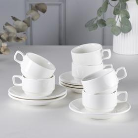 Набор чайный на 6 персон Stella, чашка 220 мл, цвет белый