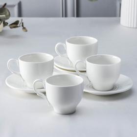 Набор чайный, на 4 персоны: чашка 220 мл, цвет белый