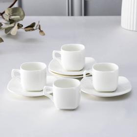 Набор кофейный на 4 персоны Ilona, чашки 90 мл, в цветной коробке, цвет белый