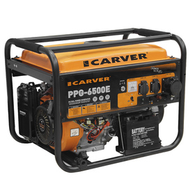 Генератор CARVER PPG- 6500Е, бензиновый, 5/5.5 кВт, 220 В, 25 л, электронный старт