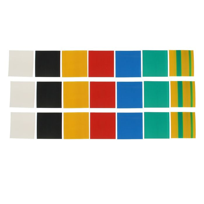 Термоусадочные трубки Uniel, 60/30 мм, набор 7 цветов по 3 шт, 100 мм