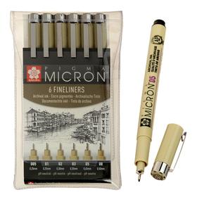 Ручка капиллярная, набор Sakura Pigma Micron 6 штук (0.2, 0.25, 0.3, 0.35, 0.45, 0.5)