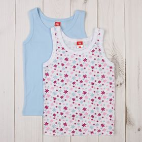 Комплект маек для девочки (2 шт.), рост 122-128 см, цвет голубой CAK 8104
