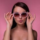 """Очки солнцезащитные """"Оверсайз"""", оправа розовая, дужки — вставка бант, линзы градиент"""