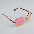 Очки солнцезащитные Round без оправы, дужки — овал с вырезами, линзы розовые