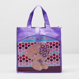 Сумка детская на кнопке 'Мишки', 1 отдел, наружный карман, цвет фиолетовый Ош