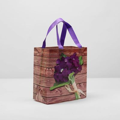 "Shopping bag with ""iris"", the division 1, color purple"