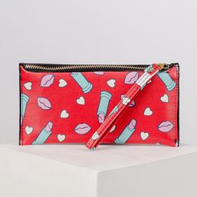 Кошелёк женский, отдел на молнии, с ручкой, цвет красный