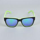"""Очки солнцезащитные детские """"Wayfarer"""", оправа чёрно-зелёная, линзы зеркальные, 14.5 × 5.5 см"""