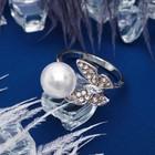 """Кольцо """"Бабочка"""" порхающая, размер 16, цвет белый в серебре"""