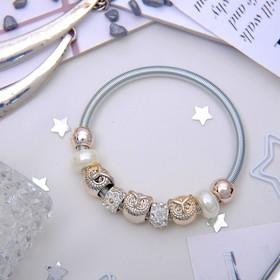 Браслет жемчуг 'Марджери' сова, цвет белый в серебре Ош