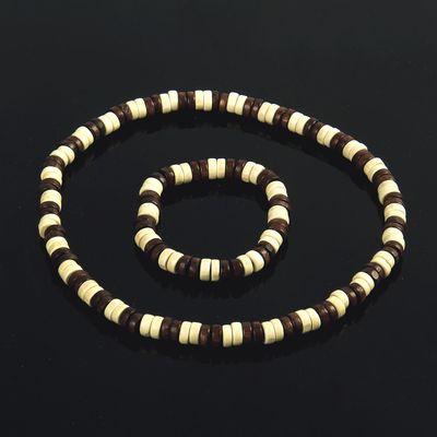 """Набор 2 предмета: бусы, браслет """"Этника"""" восхищение, цвет коричнево-молочный"""